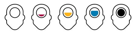 Flat linear design. Human icon for apps, web sites and public use. Human head and indicator with energy level. Concept - Brain activity and human condition - Vector.