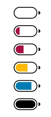 Galvanic battery charge level. Flat icons of the number of charging electronic batteries, mobile devices for applications and web sites. Vector illustration Illusztráció