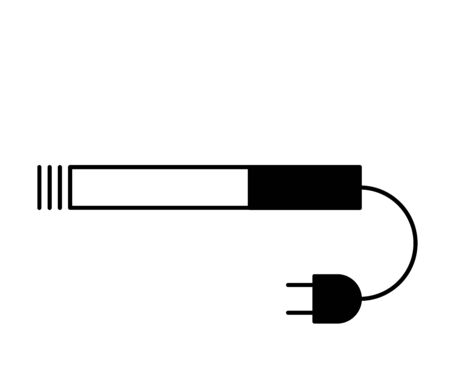 Flat linear design. Set. Electronic cigarette icon for applications, web sites and public use. Lit smoking cigarette and electrical outlet. Modern technology - Vector. Ilustração
