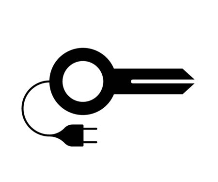 Flat linear design. The dongle icon for apps, web sites and public use. Key with a socket on the wire. Concept - Electronic satellite key - Vector.