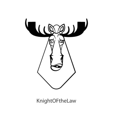 Cartoon character of an African animal. The head of a funny tough moose with large branchy horns. Vector. Conceptual. Emotional grimaces. Knights of the law. Right knight. Guardian of law