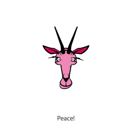 Cartoon character farm animal. The head of a funny cute goat. Horned grimaces. Conceptual - Peace! - Vector Banco de Imagens - 129791394