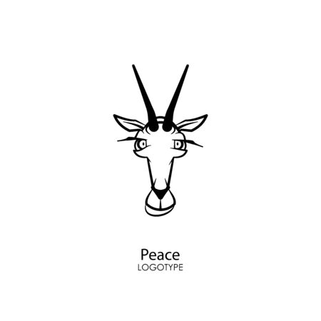 Cartoon character farm animal. The head of a funny cute goat. Horned grimaces. Conceptual - Peace! - Vector