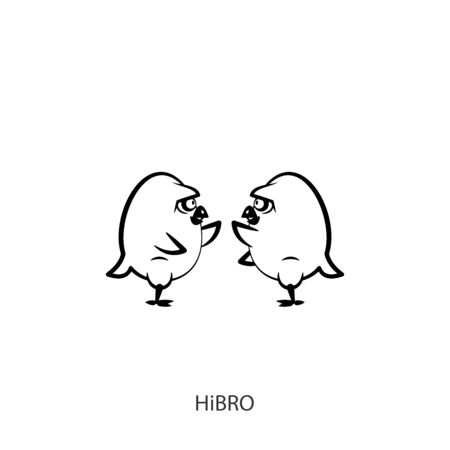Cartoon characters farm birds. Funny colored cool chickens stand wings welcoming each other. Vector. Conceptual. Hi bro! Brothers. Meeting or farewell. Stock Illustratie