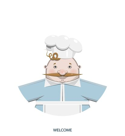 Background. Cartoon character person. Funny cute kind cook in a white cap, uniform and glasses is smiling. Welcome! - Vector illustration Illusztráció