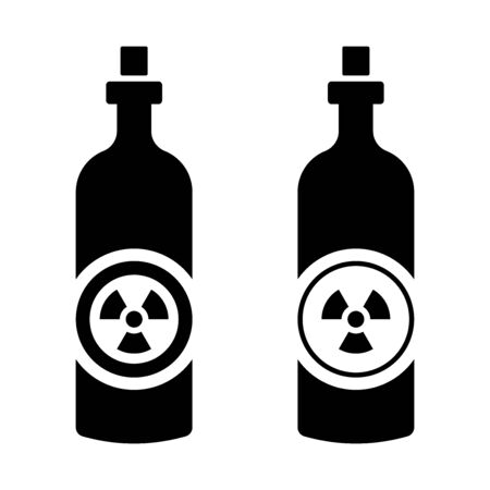 Flat linear design. Radioactive liquid icon for apps, web sites and public use. - Vector