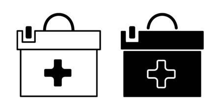 Flat linear design. Medical suitcase icon for apps, web sites and public use. - Vector