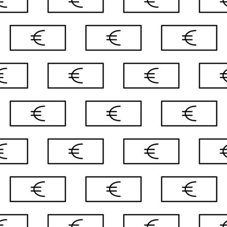 Paper money seamless pattern. White and black coin with euro sign. Abstract geometric shape texture. Design template for wallpaper,wrapping, textile. Vector Illustration