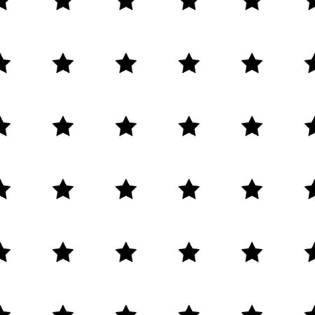 Star seamless pattern. White and black retro background. Chaotic elements. Abstract geometric shape texture. Design template for wallpaper,wrapping, textile. Vector Illustration