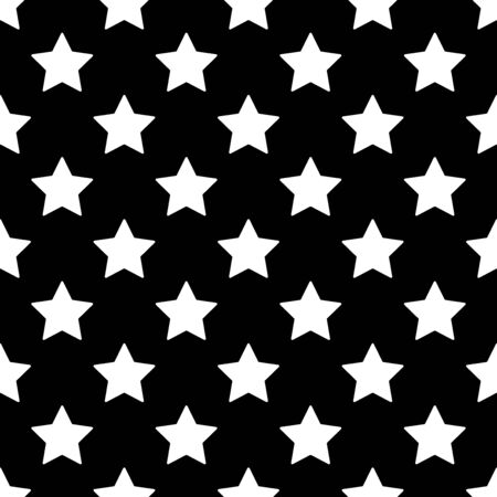 Star seamless pattern. White and black retro background. Abstract geometric shape texture. Design template for wallpaper,wrapping, textile. Vector Illustration  イラスト・ベクター素材