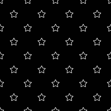 Star seamless pattern. White and black retro background. Abstract geometric shape texture. Design template for wallpaper,wrapping, textile. Vector Illustration 写真素材 - 129000889