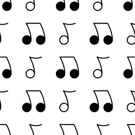 Musical notes seamless pattern. White and black background. Abstract geometric shape texture. Design template for wallpaper,wrapping, textile. Vector Illustration  イラスト・ベクター素材