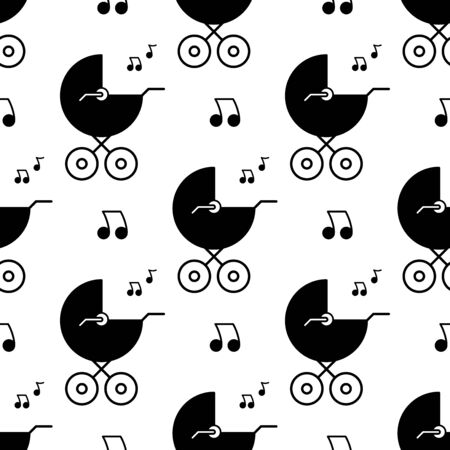 Baby carriage and melody. Seamless pattern. White and black background. Abstract geometric shape texture. Design template for wallpaper,wrapping, textile. Vector Illustration