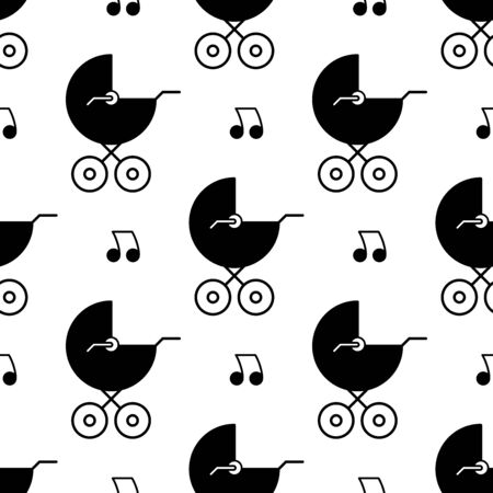 Baby carriage seamless pattern. White and black background. Abstract geometric shape texture. Design template for wallpaper,wrapping, textile. Vector Illustration 写真素材 - 129000899