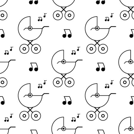 Baby carriage and melody. Seamless pattern. White and black background. Abstract geometric shape texture. Design template for wallpaper,wrapping, textile. Vector Illustration 写真素材 - 129000900