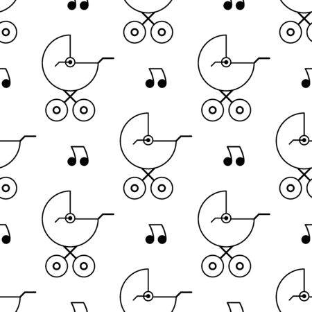 Baby carriage seamless pattern. White and black background. Abstract geometric shape texture. Design template for wallpaper,wrapping, textile. Vector Illustration  イラスト・ベクター素材
