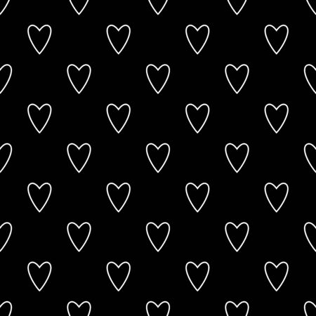 Hearts seamless pattern. White and black retro background. Abstract geometric shape texture. Design template for wallpaper,wrapping, textile. Vector Illustration