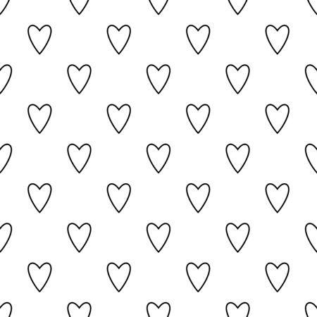 Hearts seamless pattern. White and red retro background. Abstract geometric shape texture. Design template for wallpaper,wrapping, textile. Vector Illustration