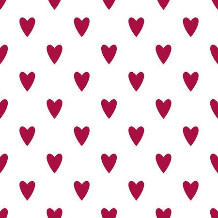 Hearts seamless pattern. White and red retro background. Abstract geometric shape texture. Design template for wallpaper,wrapping, textile. Vector Illustration 写真素材 - 129000925