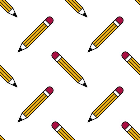 Pencil with eraser seamless pattern. Background. Abstract geometric shape texture. Design template for wallpapers,wrapping, textile. Vector Illustration