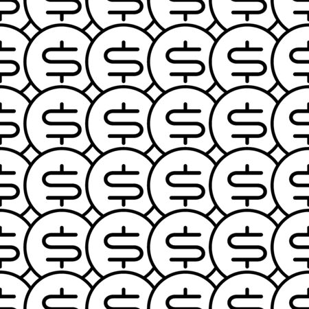 Coins seamless pattern. White and black coin with dollar sign. Abstract geometric shape texture. Design template for wallpaper,wrapping, textile. Vector Illustration