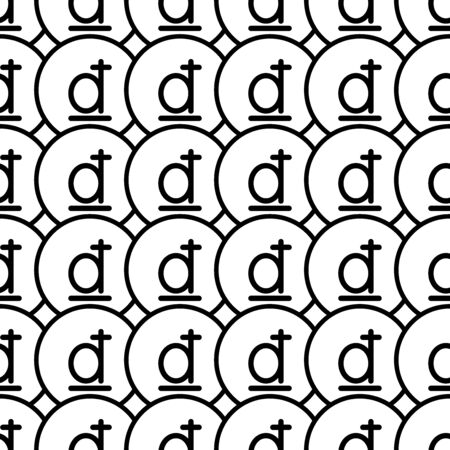 Coins seamless pattern. White and black coin with dong sign. Abstract geometric shape texture. Design template for wallpaper,wrapping, textile. Vector Illustration 写真素材 - 129000945