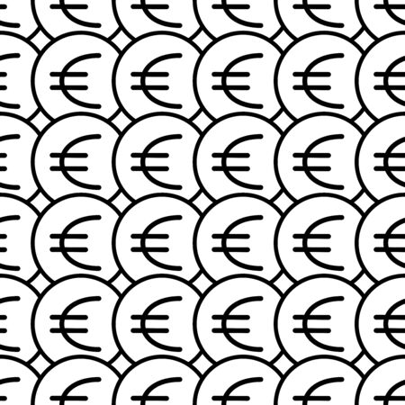 Coins seamless pattern. White and black coin with euro sign. Abstract geometric shape texture. Design template for wallpaper,wrapping, textile. Vector Illustration