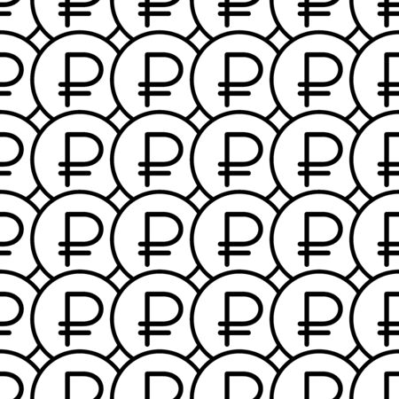 Coins seamless pattern. White and black coin with ruble sign. Abstract geometric shape texture. Design template for wallpaper,wrapping, textile. Vector Illustration 写真素材 - 129000948