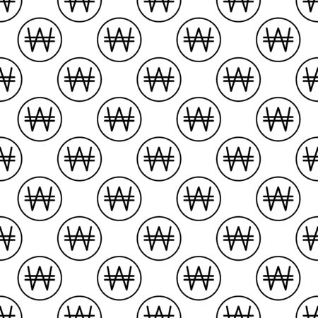 Coins seamless pattern. White and black coin with won sign. Abstract geometric shape texture. Design template for wallpaper,wrapping, textile. Vector Illustration