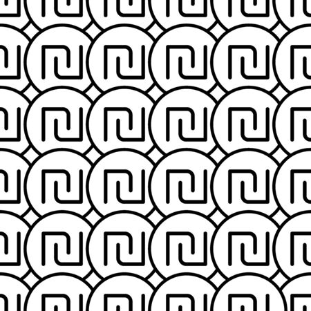 Coins seamless pattern. White and black coin with shekel sign. Abstract geometric shape texture. Design template for wallpaper,wrapping, textile. Vector Illustration  イラスト・ベクター素材