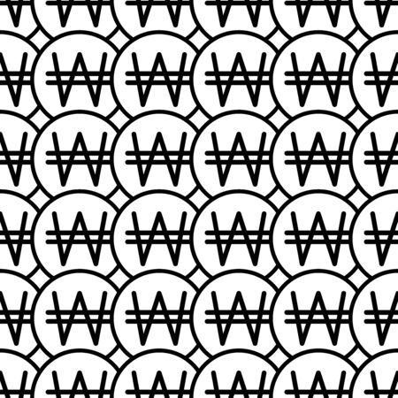 Coins seamless pattern. White and black coin with won sign. Abstract geometric shape texture. Design template for wallpaper,wrapping, textile. Vector Illustration  イラスト・ベクター素材