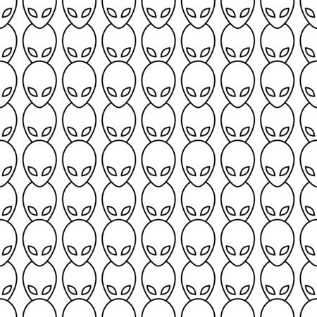 Aliens seamless pattern. White and black retro background. Abstract geometric shape texture. Design template for wallpaper,wrapping, textile. Vector Illustration