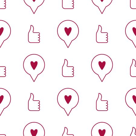 Like and heart icon seamless pattern background. Vector illustration.Thumb up and heart seamless background. - Vector  イラスト・ベクター素材