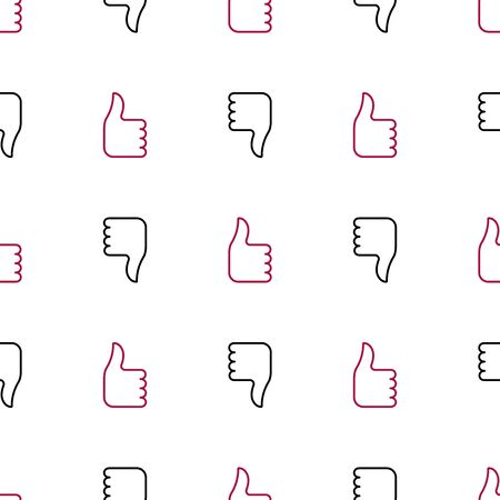Like and dizlike icon seamless pattern background. Vector illustration.Thumb up and thumb down seamless background. - Vector