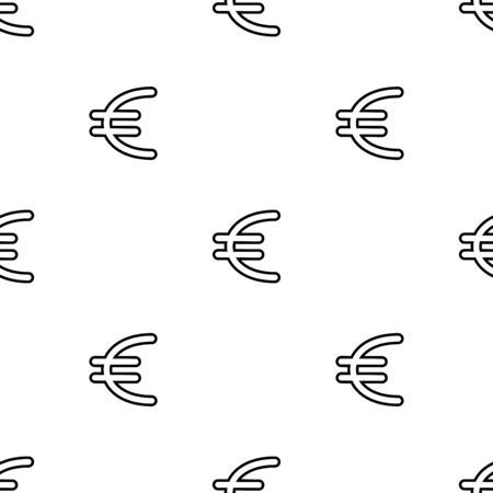 Sign pound seamless pattern. White and black coin with euro sign. Abstract geometric shape texture. Design template for wallpaper,wrapping, textile. Vector Illustration  イラスト・ベクター素材