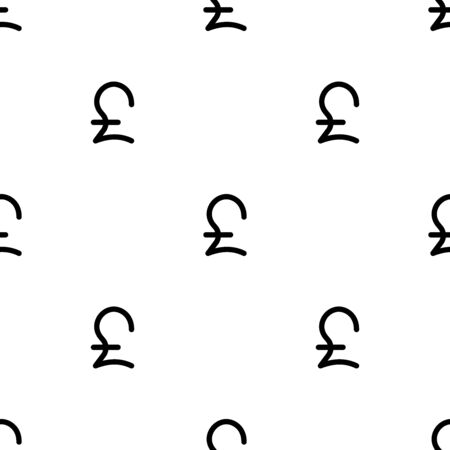 Sign pound seamless pattern. White and black coin with pound sign. Abstract geometric shape texture. Design template for wallpaper,wrapping, textile. Vector Illustration