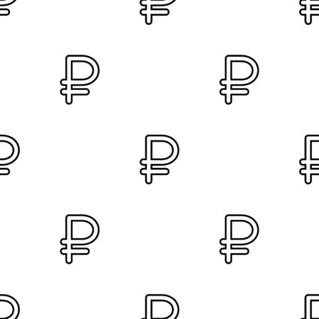 Sign ruble seamless pattern. White and black coin with ruble sign. Abstract geometric shape texture. Design template for wallpaper,wrapping, textile. Vector Illustration Illustration