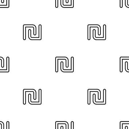 Sign shekel seamless pattern. White and black coin with shekel sign. Abstract geometric shape texture. Design template for wallpaper,wrapping, textile. Vector Illustration