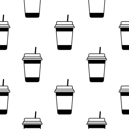 Paper or plastic cup with a drink seamless pattern. Background. Abstract geometric shape texture. Design template for wallpapers, wrapping, textile. Vector Illustration 写真素材 - 129001006
