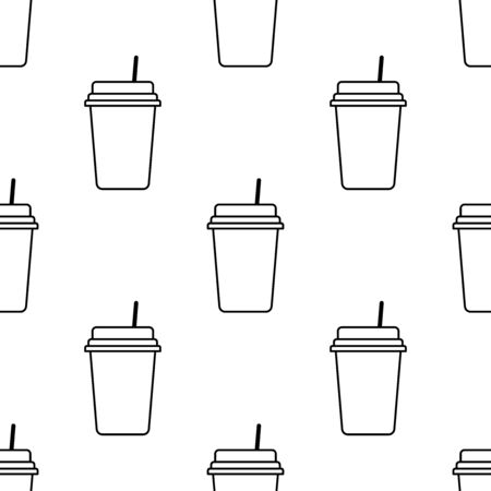 Paper or plastic cup with a drink seamless pattern. Background. Abstract geometric shape texture. Design template for wallpapers, wrapping, textile. Vector Illustration 写真素材 - 129001010