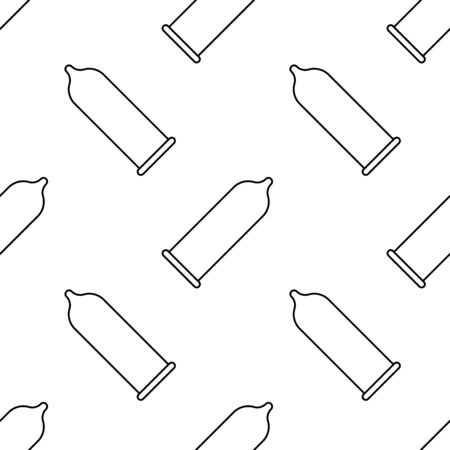 Medical condom icon seamless pattern background. Vector illustration.