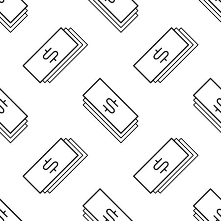 Paper money seamless pattern. White and black coin with dollar sign. Abstract geometric shape texture. Design template for wallpaper,wrapping, textile. Vector Illustration