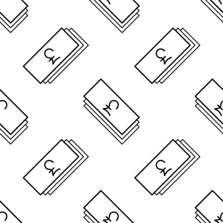 Paper money seamless pattern. White and black coin with pound sign. Abstract geometric shape texture. Design template for wallpaper,wrapping, textile. Vector Illustration 写真素材 - 129001028