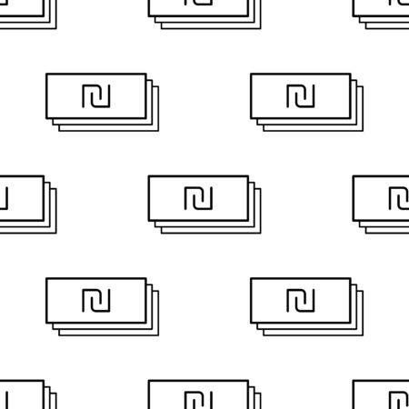 Paper money seamless pattern. White and black coin with shekel sign. Abstract geometric shape texture. Design template for wallpaper,wrapping, textile. Vector Illustration