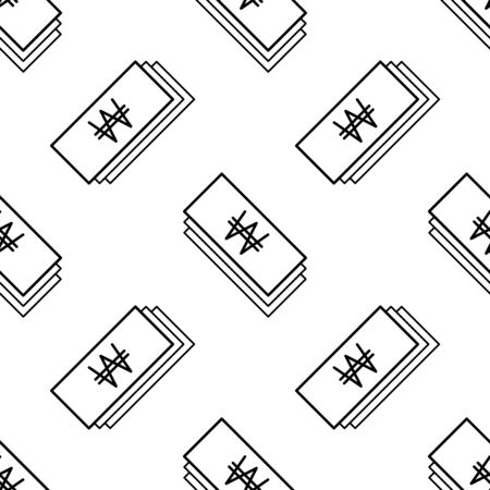 Paper money seamless pattern. White and black coin with won sign. Abstract geometric shape texture. Design template for wallpaper,wrapping, textile. Vector Illustration 写真素材 - 129001036
