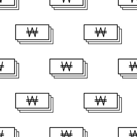 Paper money seamless pattern. White and black coin with won sign. Abstract geometric shape texture. Design template for wallpaper,wrapping, textile. Vector Illustration