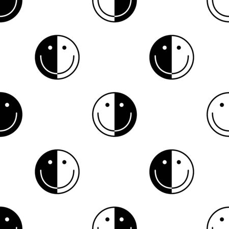 Smile icon seamless pattern. White and black background. Abstract geometric shape texture. Design template for wallpaper,wrapping, textile. Vector Illustration