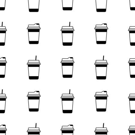 Paper or plastic cup with a drink seamless pattern. Background. Abstract geometric shape texture. Design template for wallpapers, wrapping, textile. Vector Illustration 写真素材 - 129001053