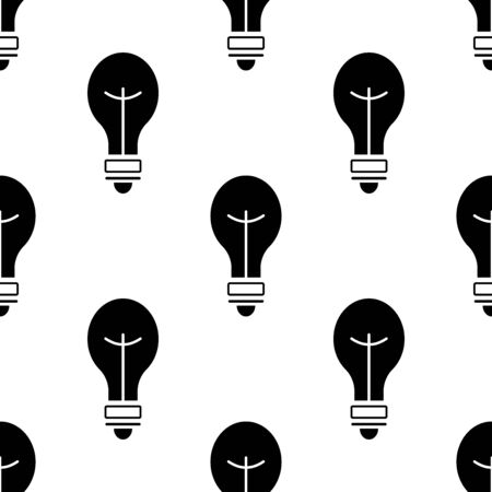 Light bulb icon seamless pattern. White and black background. Abstract geometric shape texture. Design template for wallpaper,wrapping, textile. Vector Illustration Иллюстрация