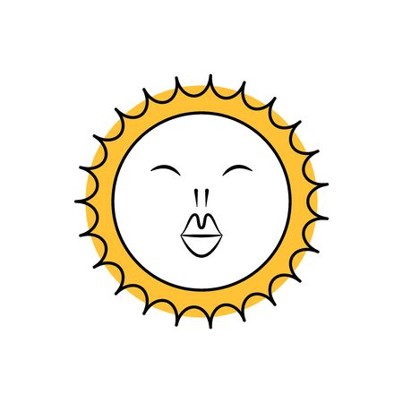 Funny sun icon illustration isolated on white background. Flat style. Vector template - Vector